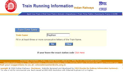 Train Time Tables in Indian Railways